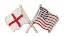 United States of America USA and England Friendship Flag Pin Badge